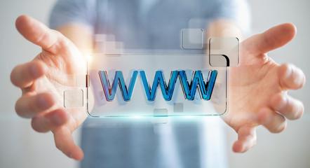 Businessman surfing on internet using tactile web address bar 3D rendering