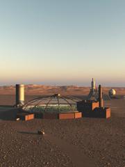Biodome on an Alien Desert Planet - science fiction illustration