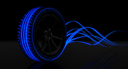 Tire Luminous Tread and Glowing Wake