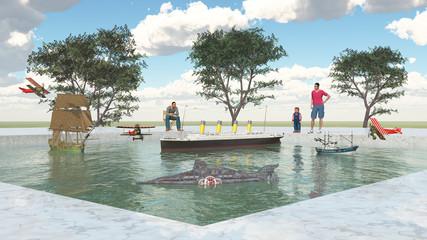 Freizeitpark mit Modellschiffen und Besuchern