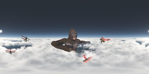 360 Grad Panorama mit riesigem Gorilla und Doppeldecker Flugzeugen