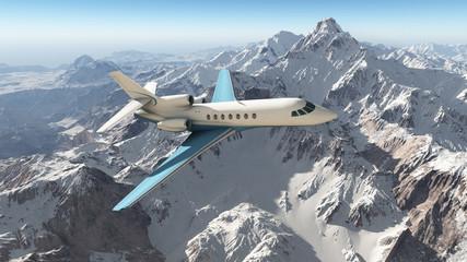Verkehrsflugzeug über den Bergen