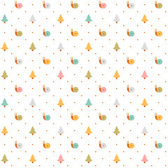 vector seamless white pattern with snails and trees