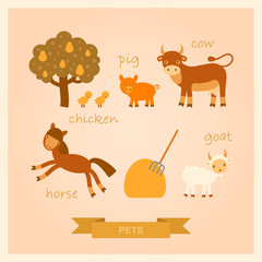 set of vector cartoon illustrations of farm animals