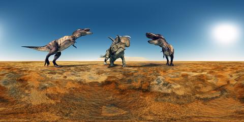 360 Grad Panorama mit den Dinosauriern Tyrannosaurus Rex und Albertaceratops