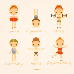 set of vector cartoon sports illustrations