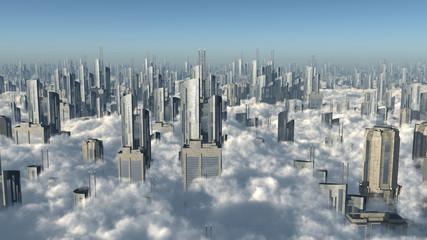 Stadt über den Wolken