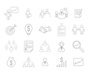 Set of financial and business icons. Flat line style.