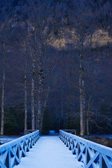 Snow bridge at Ordena y Monte Perdido National Park
