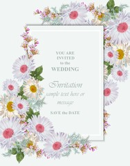 Greeting card with chamomile flowers bouquet Vector illustrations