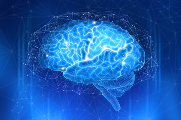 Human brain is surrounded by a network of polygons on a dark blue background. Conceptual digital illustration