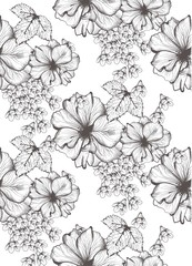 Beautiful flowers Vector illustration. Floral pattern background. Line art hand drawn graphic style illustrations