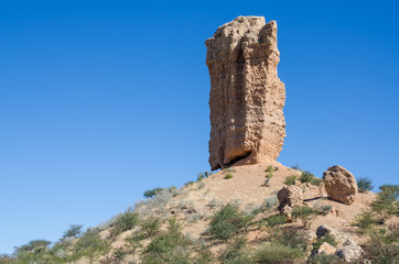 Famous tall rock formation the Vingerklip or Fingerklippe in Namibia, Southern Africa
