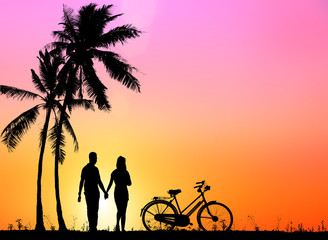 silhouette  couple and  bicycles outdoors against sunset.