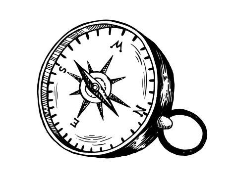 Vintage compass engraving vector illustration