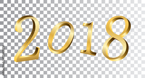 Happy new year golden numbers gold numbers 2018 on white happy new year golden numbers gold numbers 2018 on white transparent background christmas and voltagebd Gallery