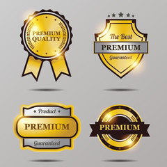 Premium golden badge collection with shiny color