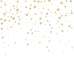 Christmas winter white background with Christmas golden falling snowflakes. Gold shine elegant snowfall Christmas background. Happy New Year card design for holiday Vector illustration