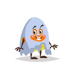 Cartoon candy corn ghost costumed character. . Halloween humanized sweet symbol for party poster and decoration.