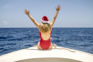 Woman Enjoying Christmas In Caribbean