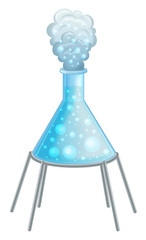 cartoon set of science glass tubes with some chemical reaction illustration for children