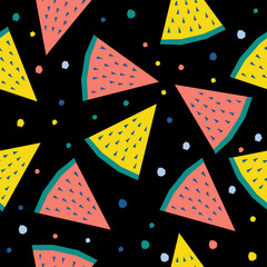 Abstract watermelon seamless pattern background. Childish handmade craft