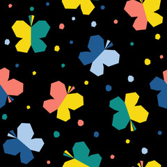 Abstract butterfly seamless pattern background. Childish handmade craft