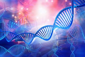 3d DNA strands on science background .