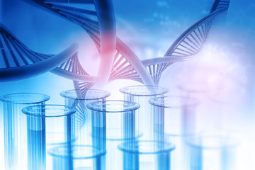 Test tube with DNA on abstract background. 3d illustration .