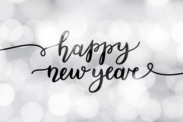happy new year, lettering, greeting card template