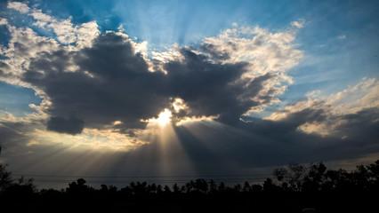 Light rays in Chennai, TN, IN.