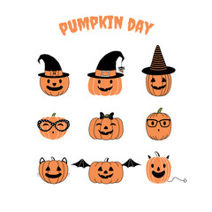 Set of hand drawn vector funny cartoon pumpkins with different faces, witch hats, glasses, ribbon, cat ears, whiskers, bat wings, horns and tail, with text Pumpkin day.