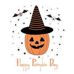 Hand drawn vector illustration of a funny cartoon pumpkin in a striped pointy hat, with eyes on bat wings, with text Happy Halloween.