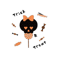 Hand drawn vector illustration of a funny cartoon skull with heart shaped eyes, eating lollipop, with candy and text Trick or Treat.