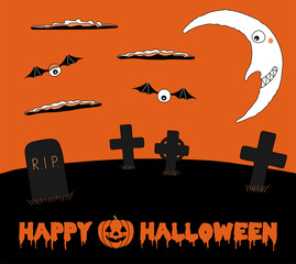 Hand drawn vector illustration of graveyard landscape, with clouds and smiling crescent moon in the orange sky, with text Happy Halloween and a pumpkin.
