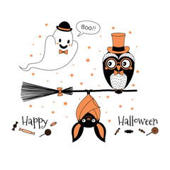 Hand drawn vector illustration of a cute funny owl on a broomstick, hanging bat, ghost in a bowler hat saying Boo, text Happy Halloween.