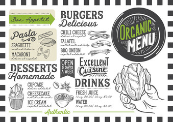 Organic menu restaurant, food template.