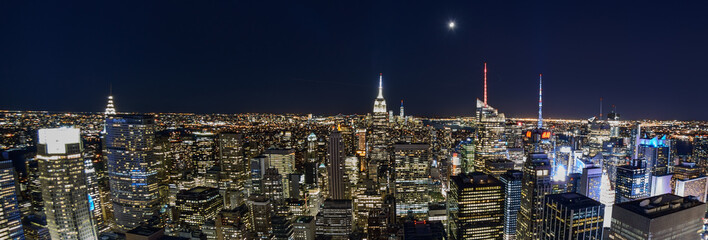Skyline at night with Empire State Building