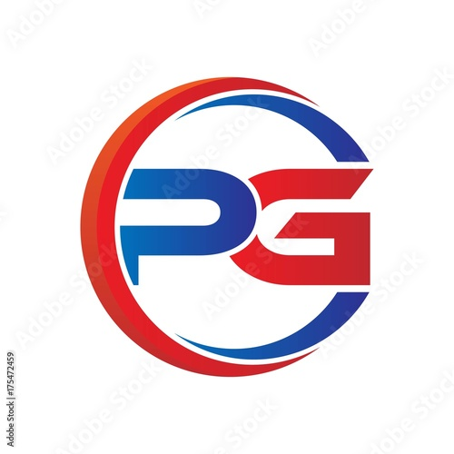 Pg Logo Vector Modern Initial Swoosh Circle Blue And Red Stock