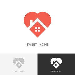 Sweet home logo - house with window and chimney on the roof and heart or love symbol. Family, real estate and realty vector icon.