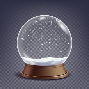 Xmas Empty Snow Globe Vector. Winter Christmas Design Element.Glass Sphere On A Stand. Isolated On Transparent Background Illustration