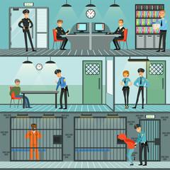 Police department set, policemen at work, investigating crimes, identifying and arresting criminals horizontal vector Illustrations