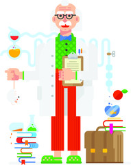 Scientist in the style of the cartoon. Isolated object on white background. Vector illustration. Flat vector illustration. Characters design.