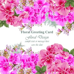 Invitation Card vector. Roses beauty flowers. Fuchsia pink colors