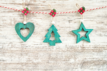 Christmas background. Green Christmas decoration on wooden background. Copy space