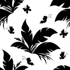 Seamless Floral Pattern, Exotic Plant and Butterfly Silhouettes Isolated on White Tile Background. Vector