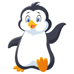 cartoon penguin isolated on white background.