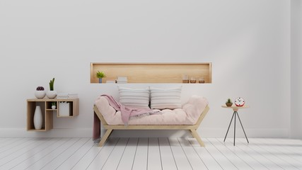 living area with sofa pink, table ,wood floor and white color wall ,3d rendering