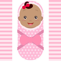 Smiling african baby girl isolated on white background. Cartoon mascot. Holiday illustration to Birthday, Baby Shower.