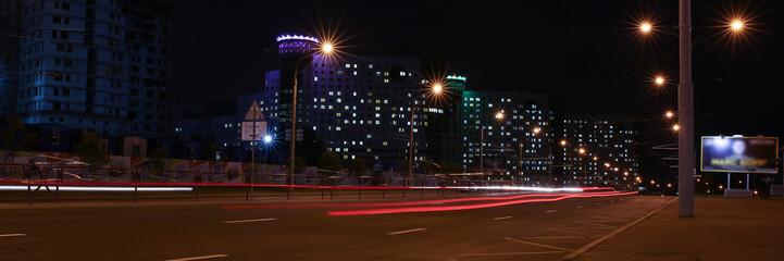 Landscape of the city of Minsk in Minsk Belarus blurred lights
